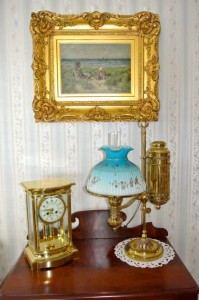 Tiffany Student Lamp,Tiffany crystal regulator clock,19th century beach scene oil on canvas painting.
