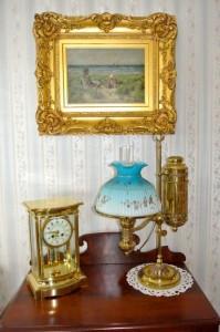 Tiffany Student Lamp,Tiffany crystal regulator clock,19th century beach scene oil on canvas painting.