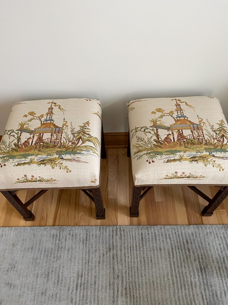 Chinese Chippendale Chinoserie Matching Pair of Benches